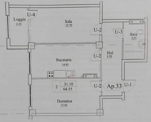 Rîșcani str. Alecu Russo 2 camere 64,55 m2 variantă albă