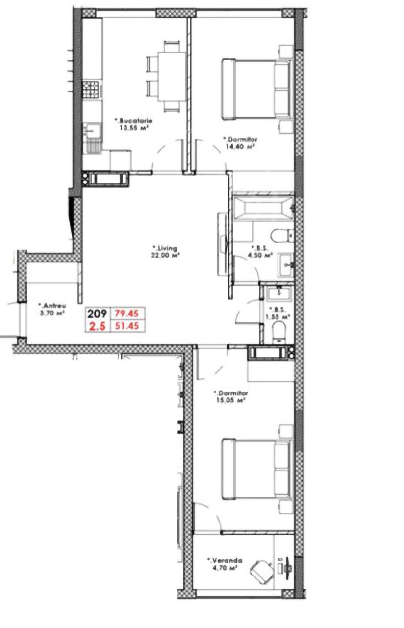 Buiucani! Apartament cu 2 odăi + living, varianta alba, 79 m.p.900 €