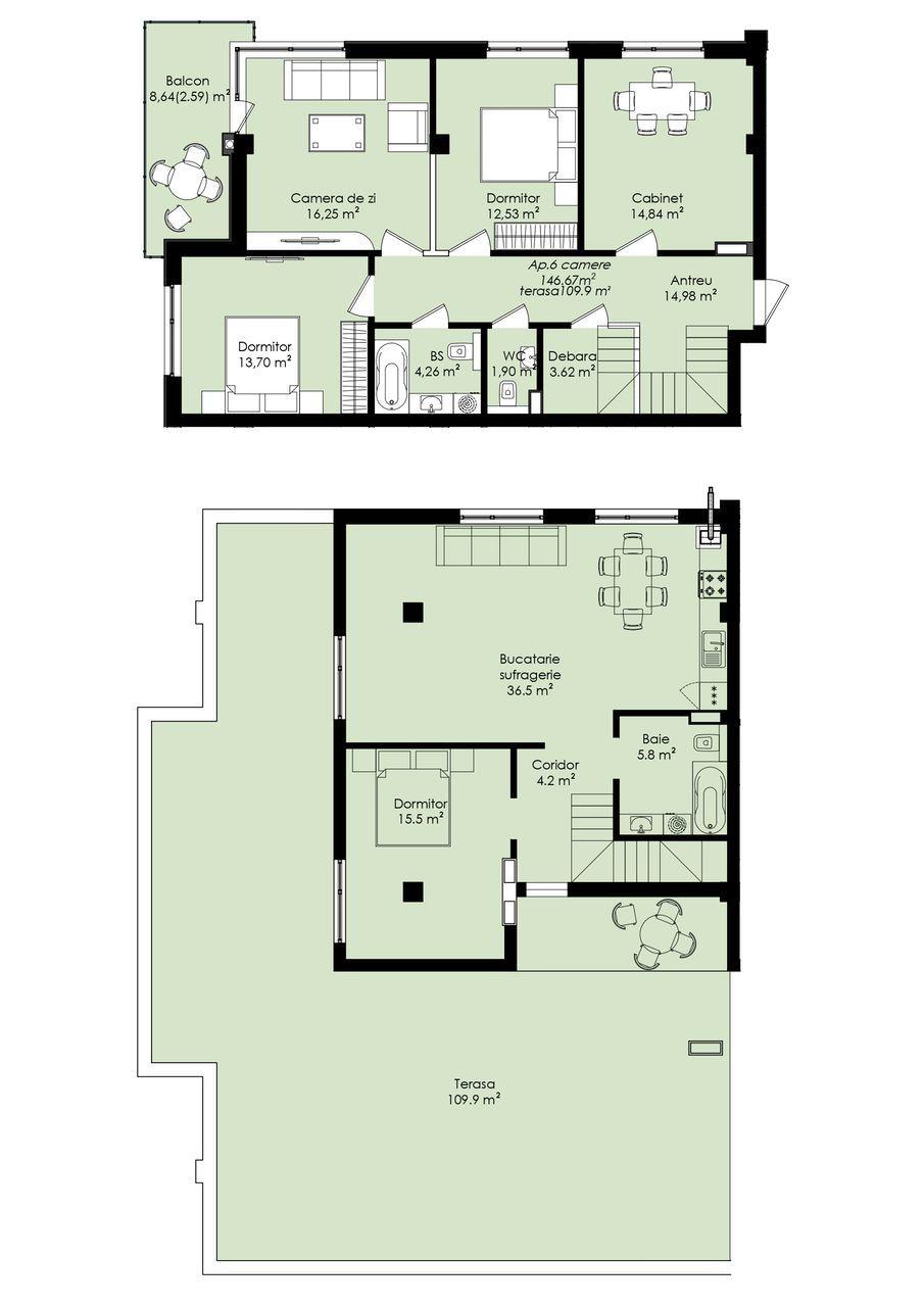 Variantă albă cu terasă str. Măcieșilor!!! Penthouse !!