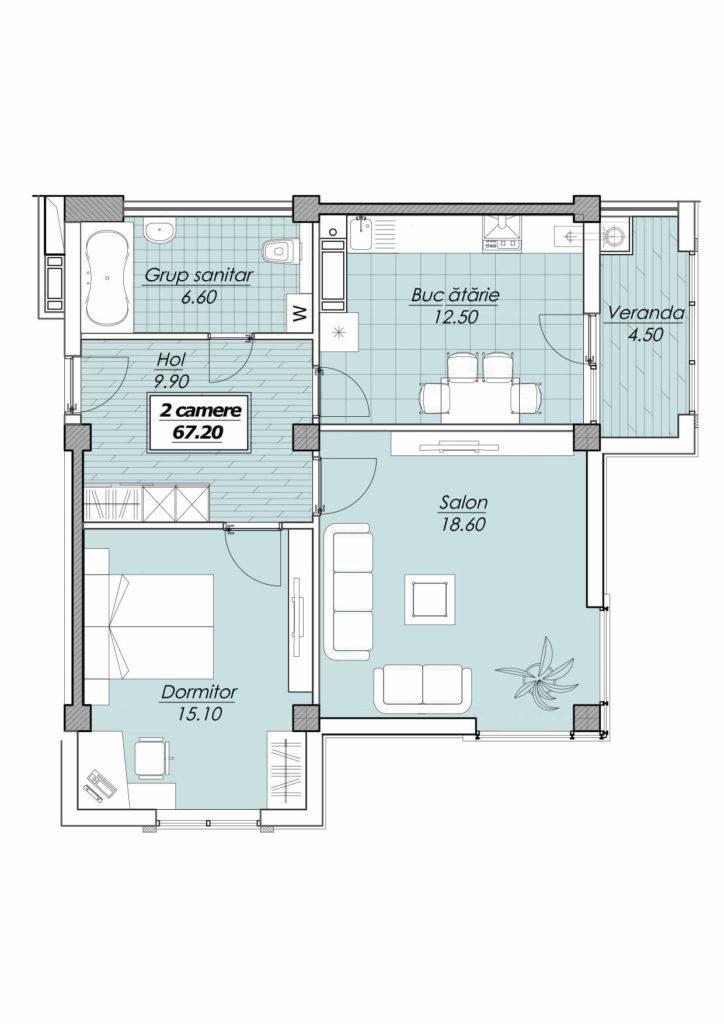 Apartament la cheie 2 camere+ living Botanica