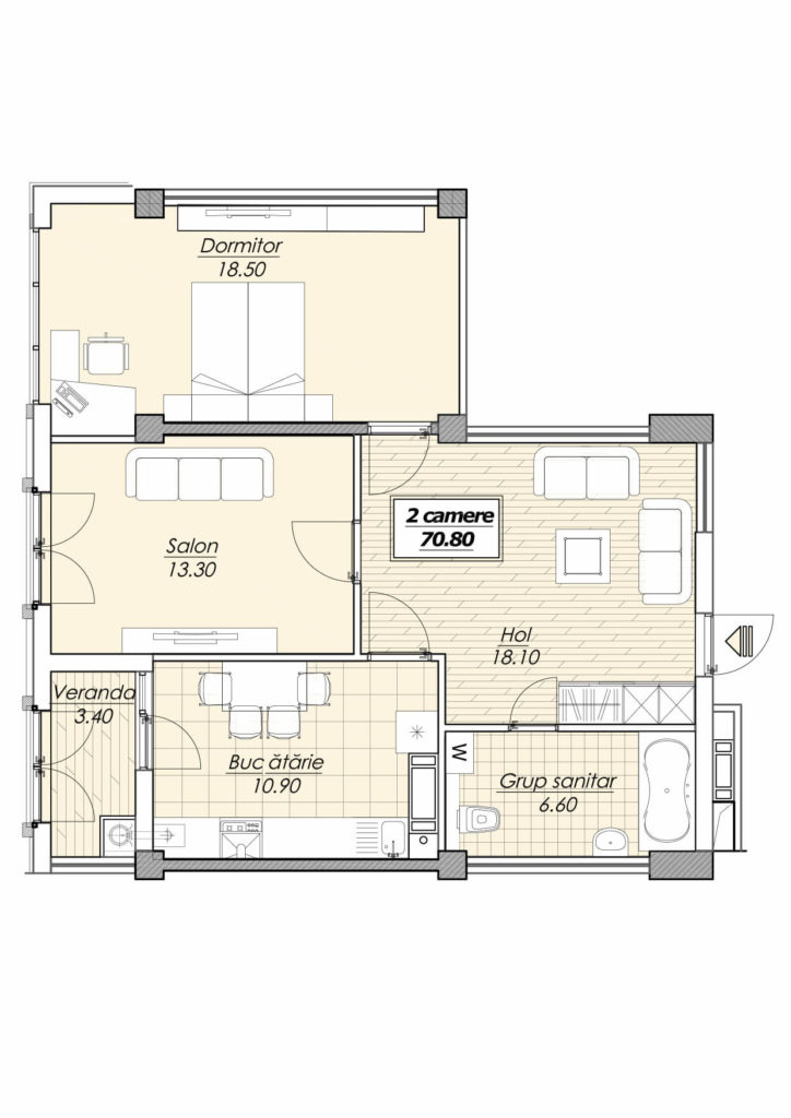 Euro reparație 70,8 m2 2 camere + living str. Decebal Botanica Dezvoltator