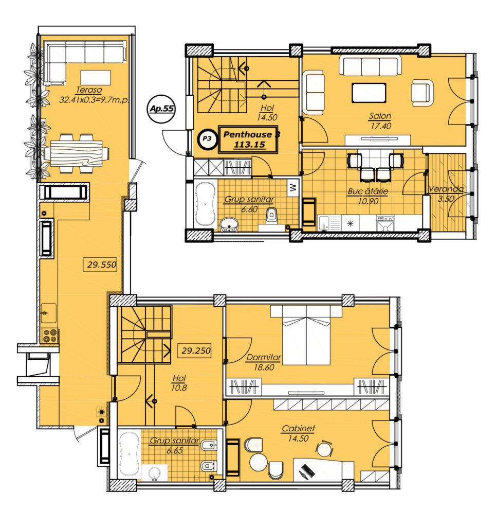 Penthouse cu suprafața de 113,5 m2, Botanica !