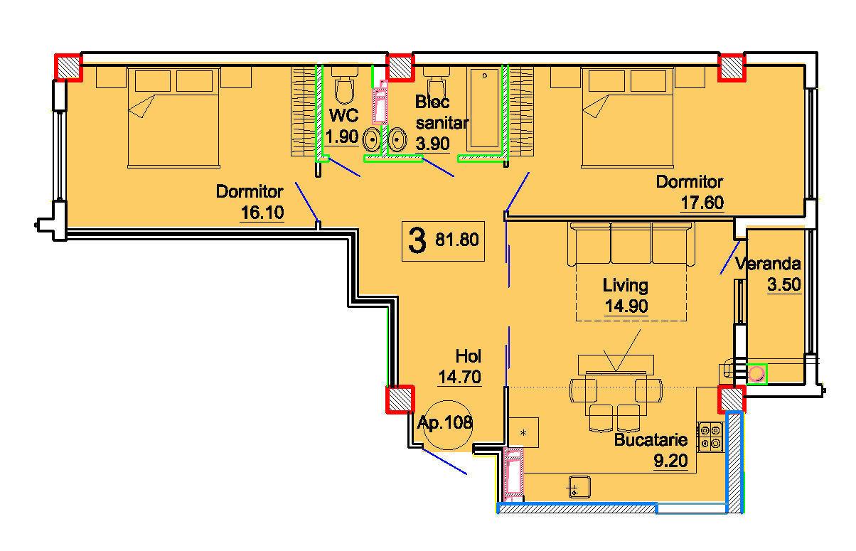 Apartament cu 3 odăi, Ciocana!! Variantă albă Eco City Residence