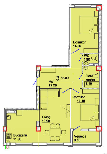Ciocana! Apartament suprafața generoasă de 82 m2! Eco City Residence!
