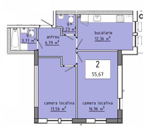 Stăuceni !!! Grătiești! Apartament 55,67 m.p!!