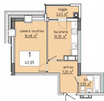 Stăuceni !!! Apartament 42,05 m.p.!! Grătiești!