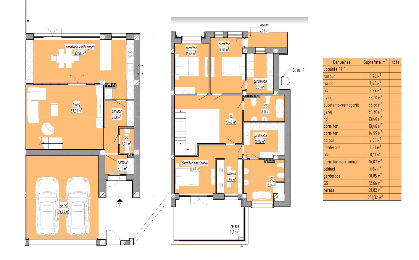 Townhouse 251,32 m2 Tohatin stil Hi-Tech variantă albă posibil in rate