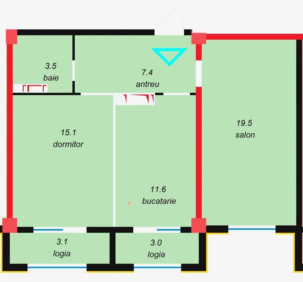 Bloc Premium ! Suprafața de 65,60 m2 sec. Botanica!